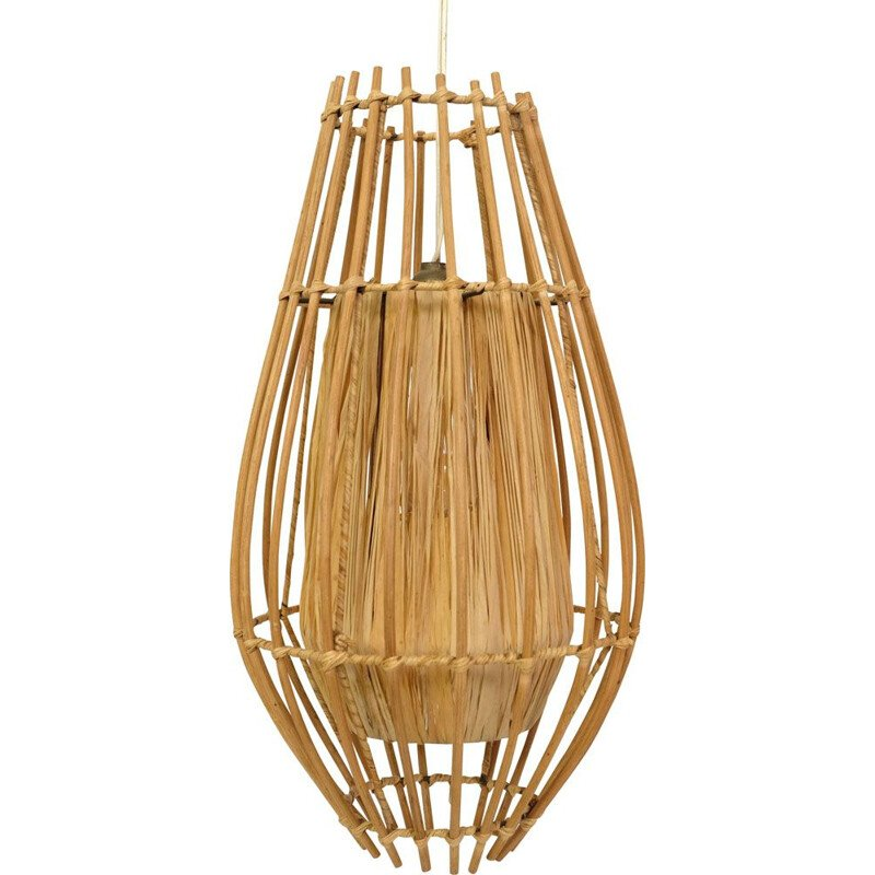 French vintage rattan and raffia hanging lamp 1970