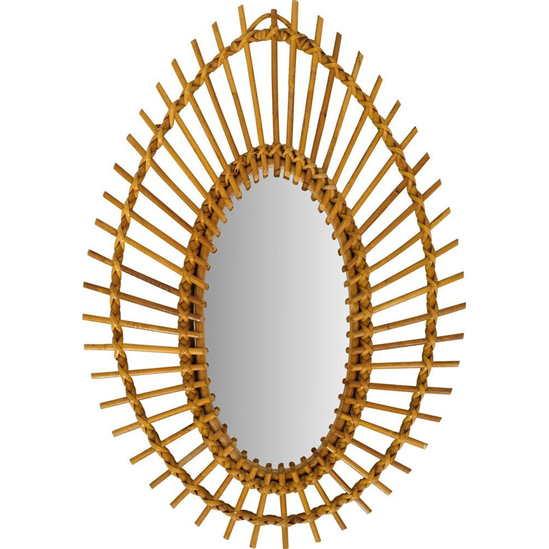 French vintage mirror in rattan 1960