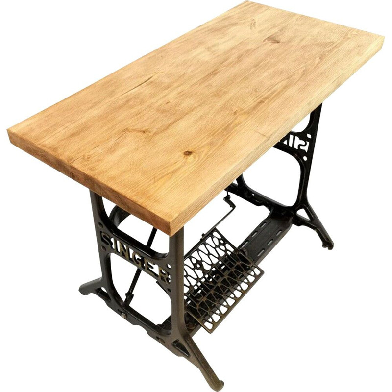 Vintage industrial desk with bench in wood and metal