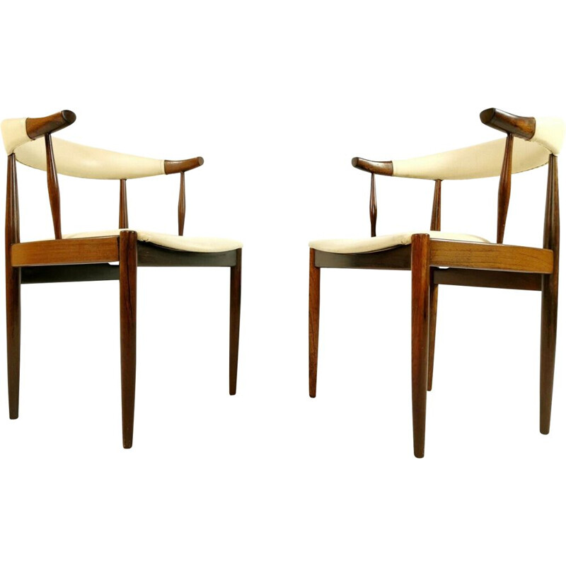 Pair of Cow Horn chairs in rosewood by Johannes Andersen
