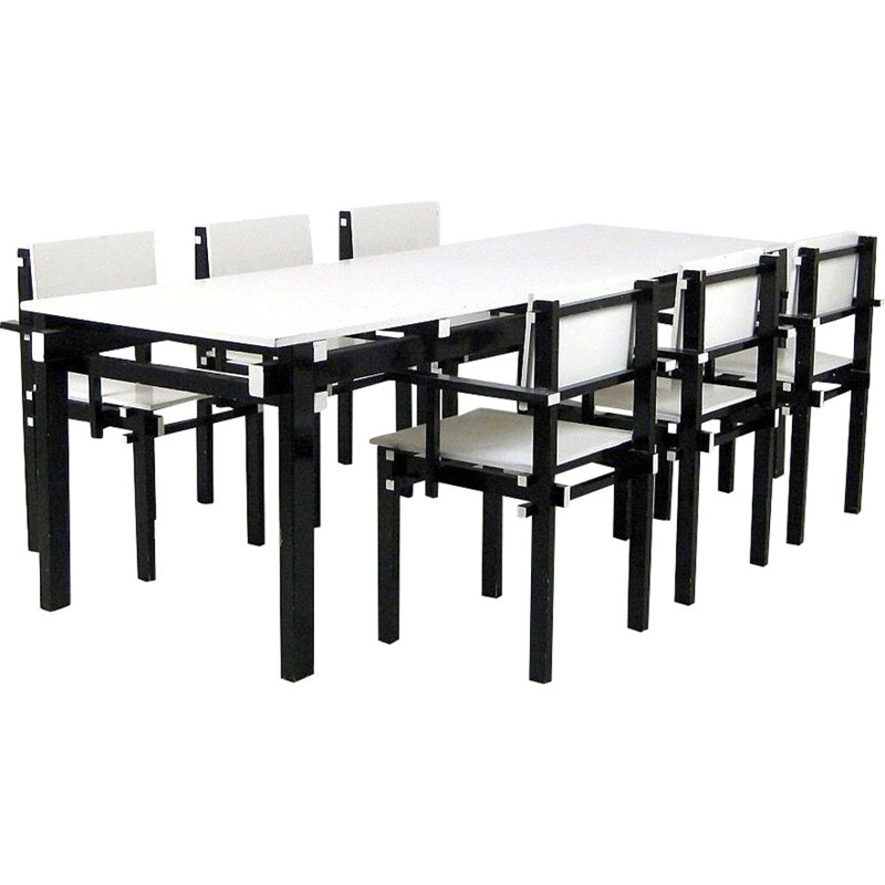Vintage black and white dining set