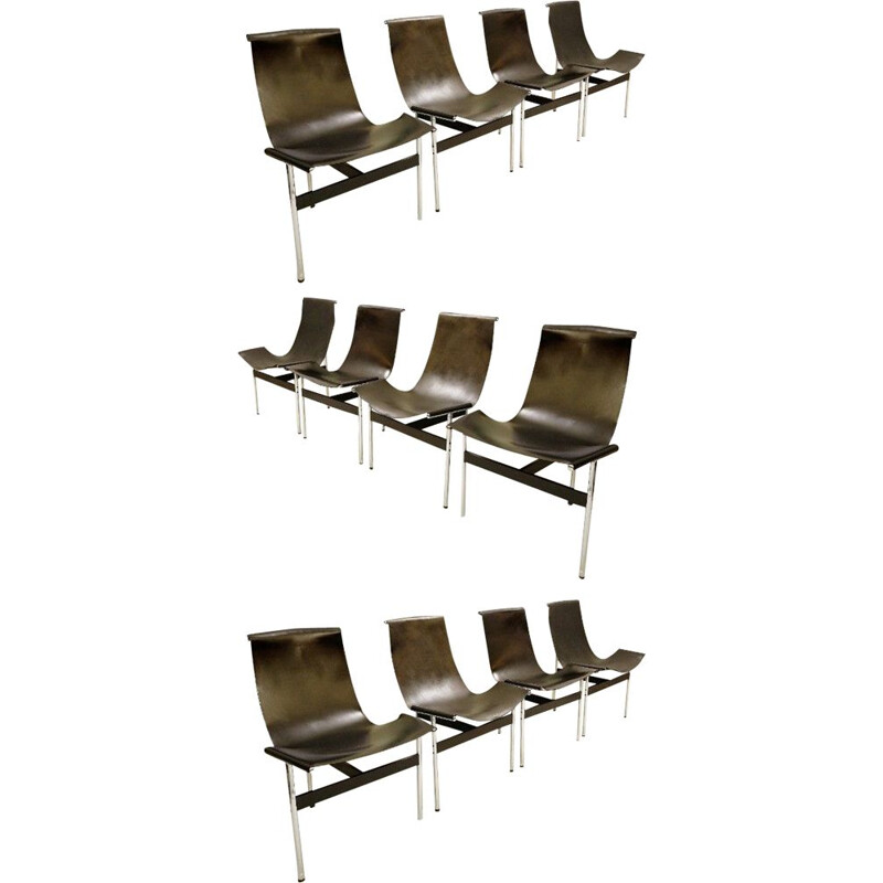 Set of 12 T chairs by Douglas Kelly, Ross Littell and William Katavolos