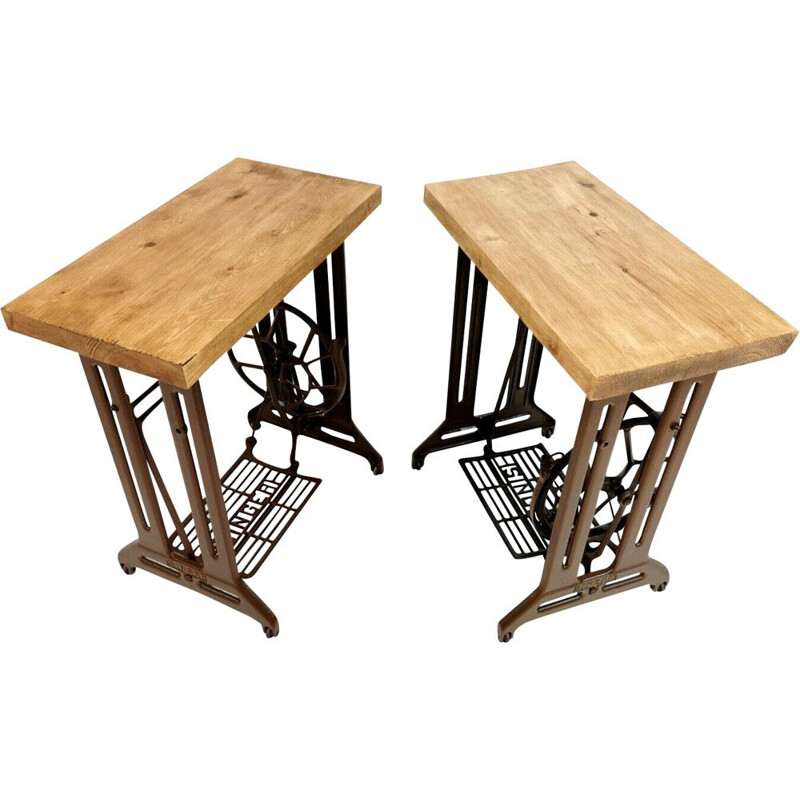 Singer Art Deco Industrial Side Treadle Tables 1960