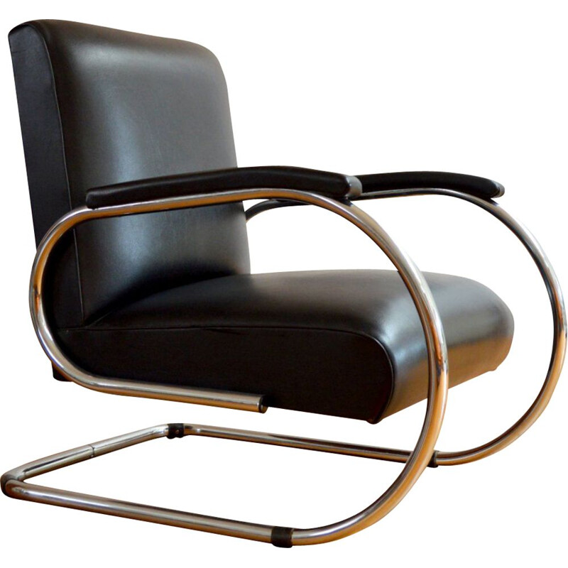 Vilvoure vintage armchair for Tubax in black leatherette and metal 1950