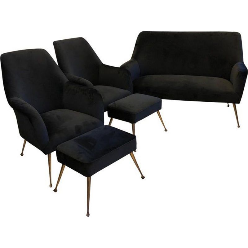 Vintage living room in black velvet and brass 1950s