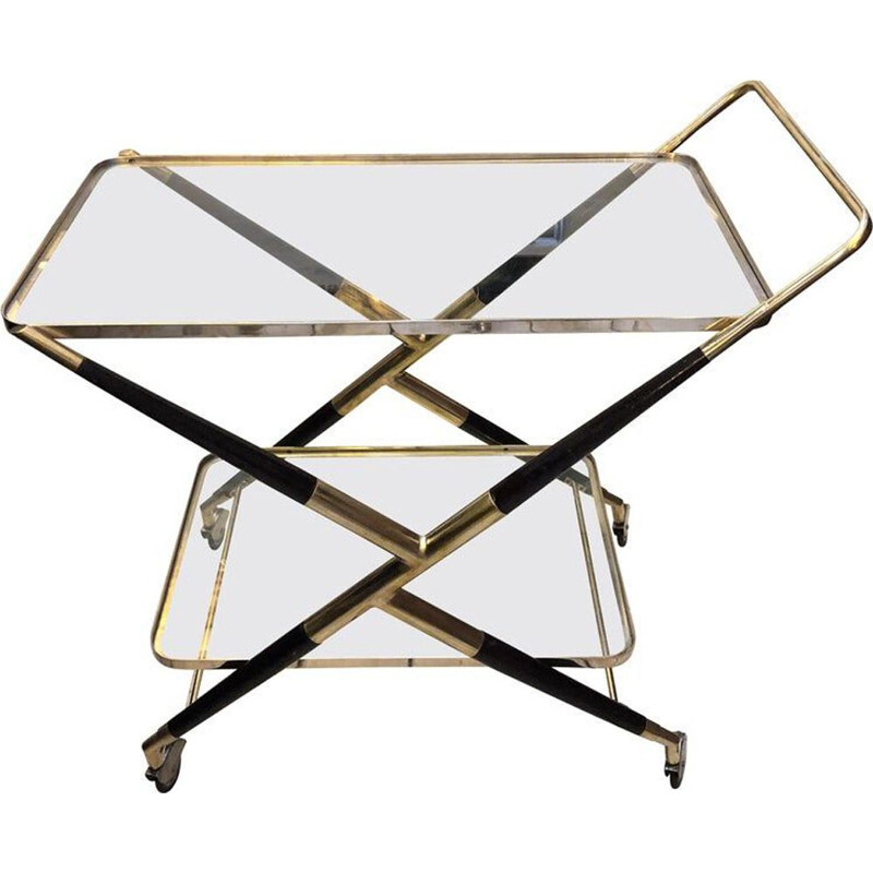 Vintage italian bar cart in wood and brass 1950s