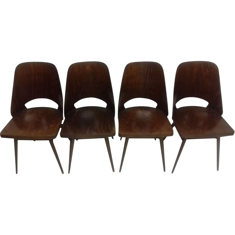 Set of 4 vintage chairs for Thonet in beech 1960s