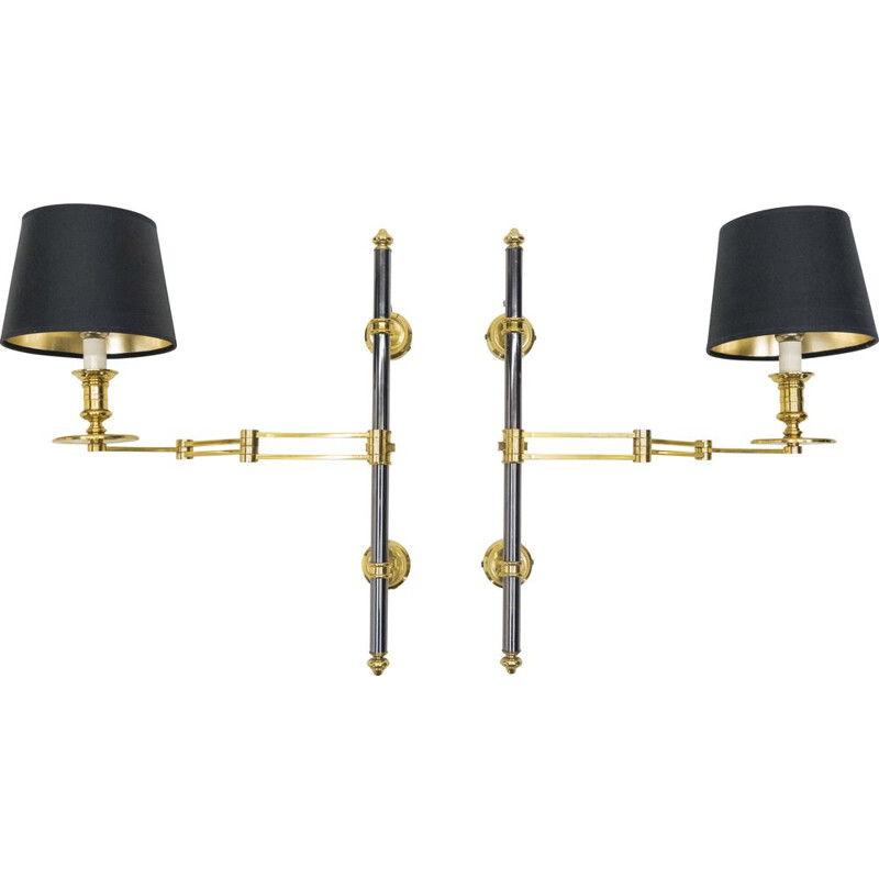 Pair of vintage retractable sconces for Maison Jansen in metal and brass 1960