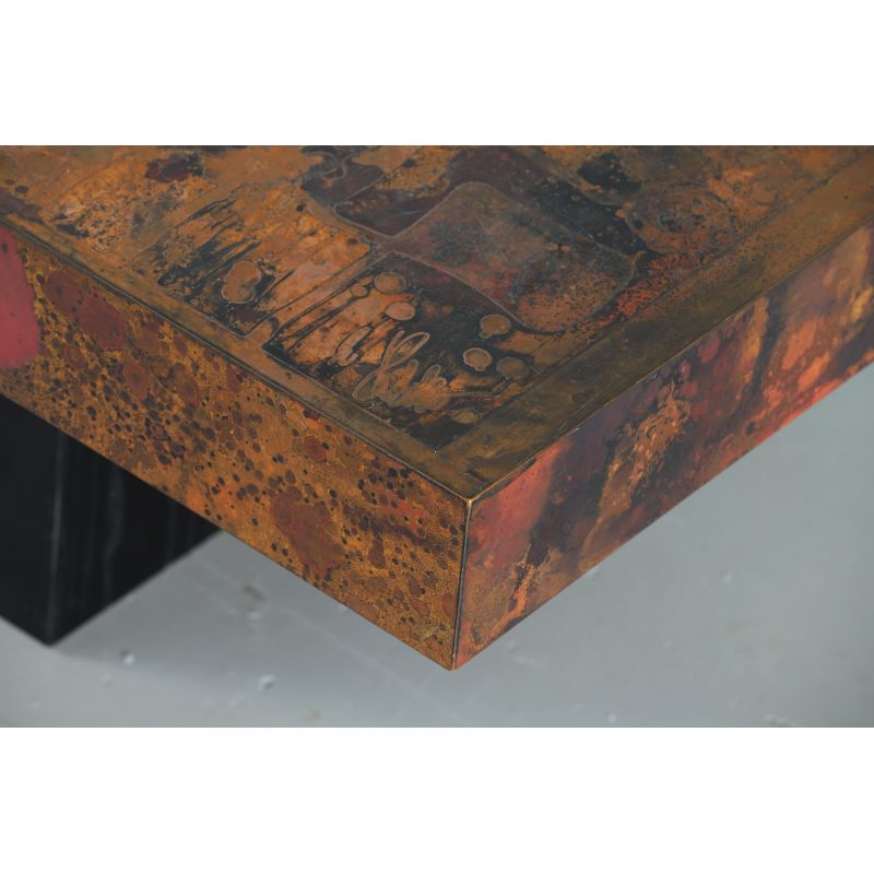 Vintage Coffee Table By Bernhard Rohne Oxidized And Etched Copper 1966