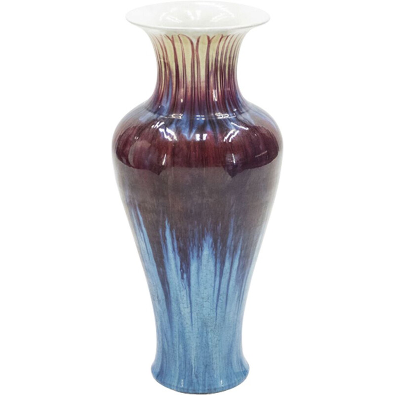 Very large vintage vase in enamelled ceramics 1960