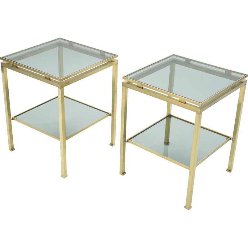 Vintage pair of sofa tables in brass by Guy Lefevre for Maison Jansen 70s