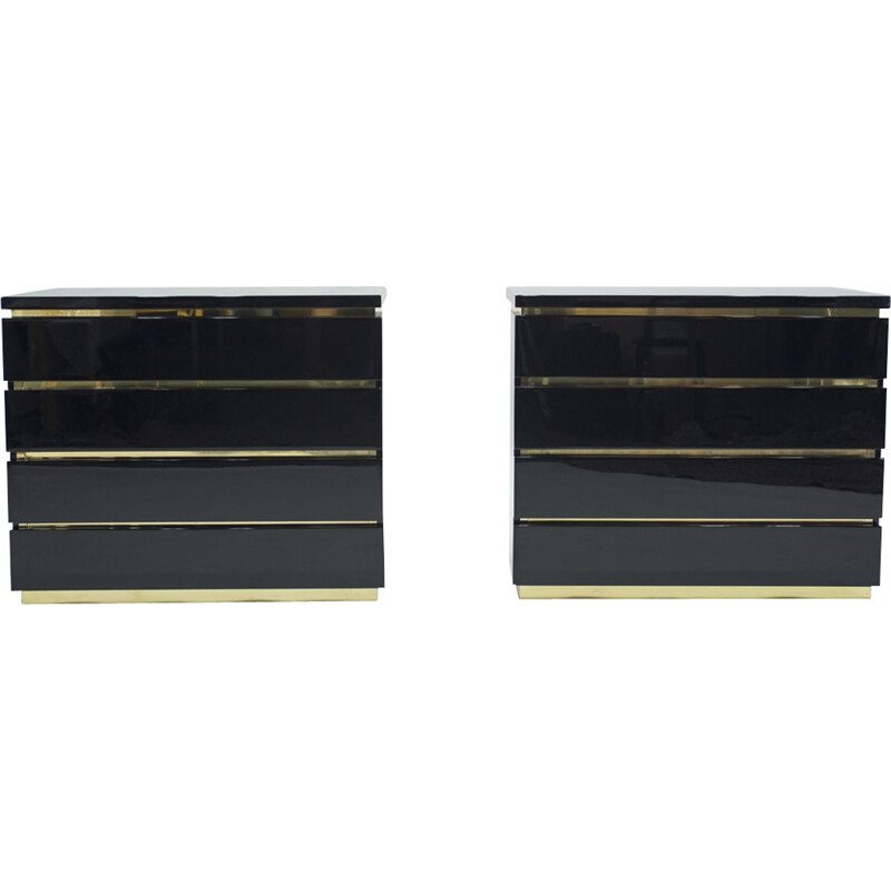 Pair of vintage chest of drawers brass lacquered by J.C. Mahey for Maison Romeo 1970