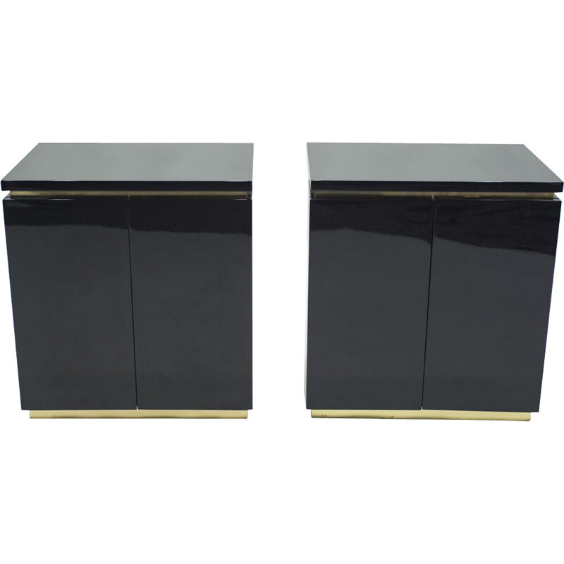 Pair of vintage cabinets black lacquered and brass J.C. Mahey for Maison Romeo 1970