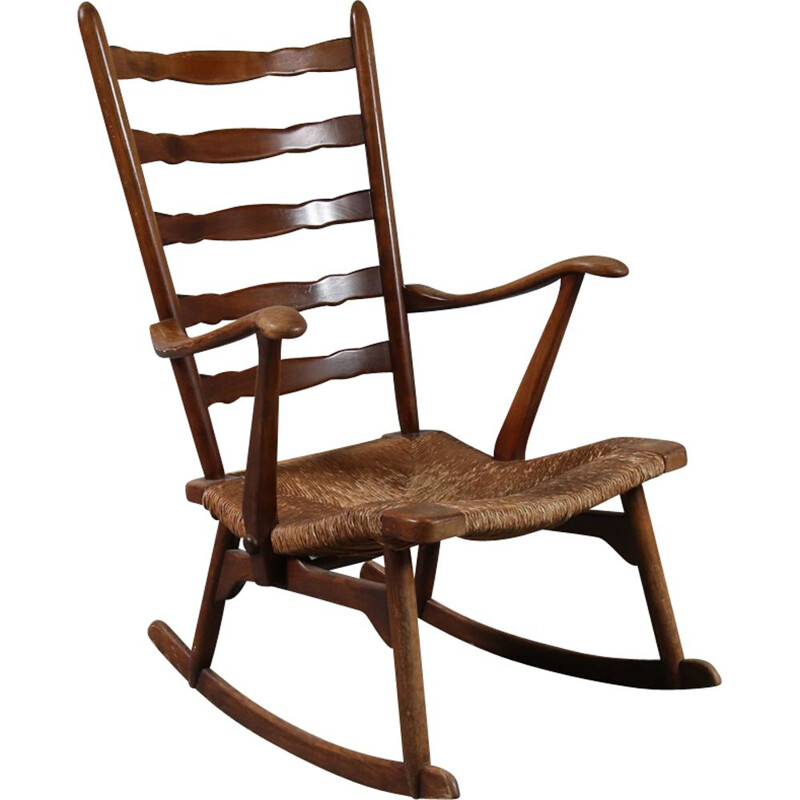 Vintage rocking chair in wood by De Ster Gelderland, Netherlands 1950s