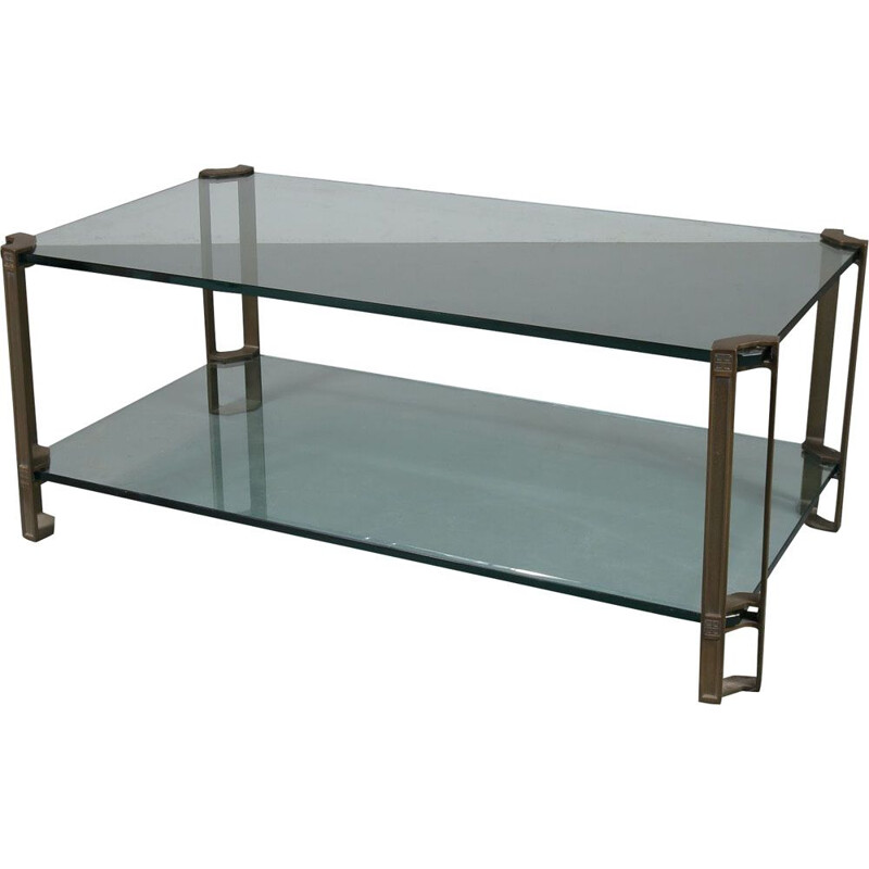 Vintage coffee table in glass and brass by Peter Ghyczy for Ghyczy, the Netherlands 1970s