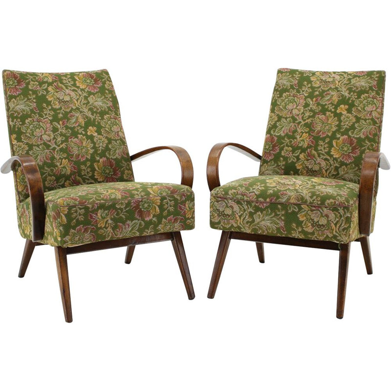 Pair of green armchairs in beechwood by Thon