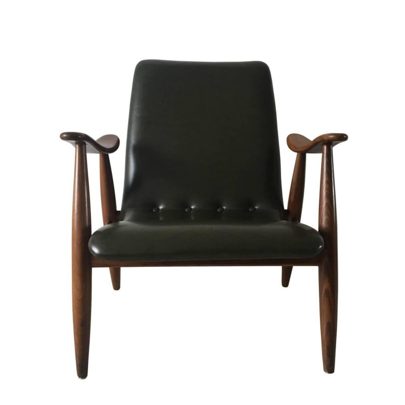 Webe lounge chair in wood and green leatherette, Louis VAN TEEFFELEN - 1960s