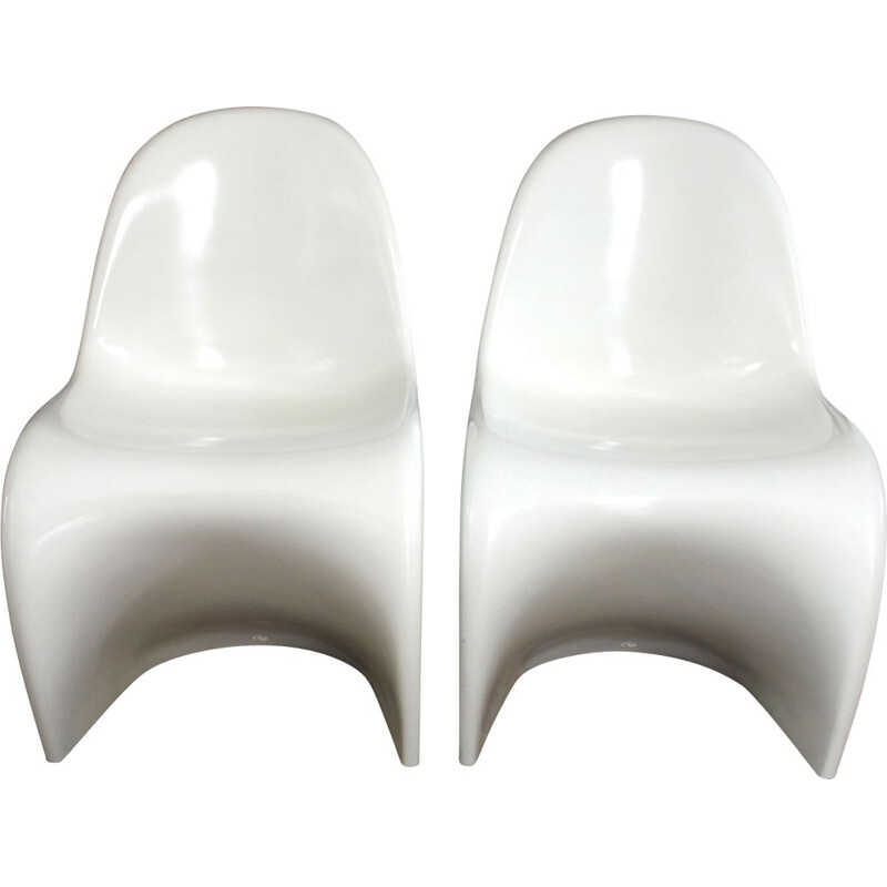 Pair of vintage Baydur chairs for Verner Panton in white polyurethane 1960s
