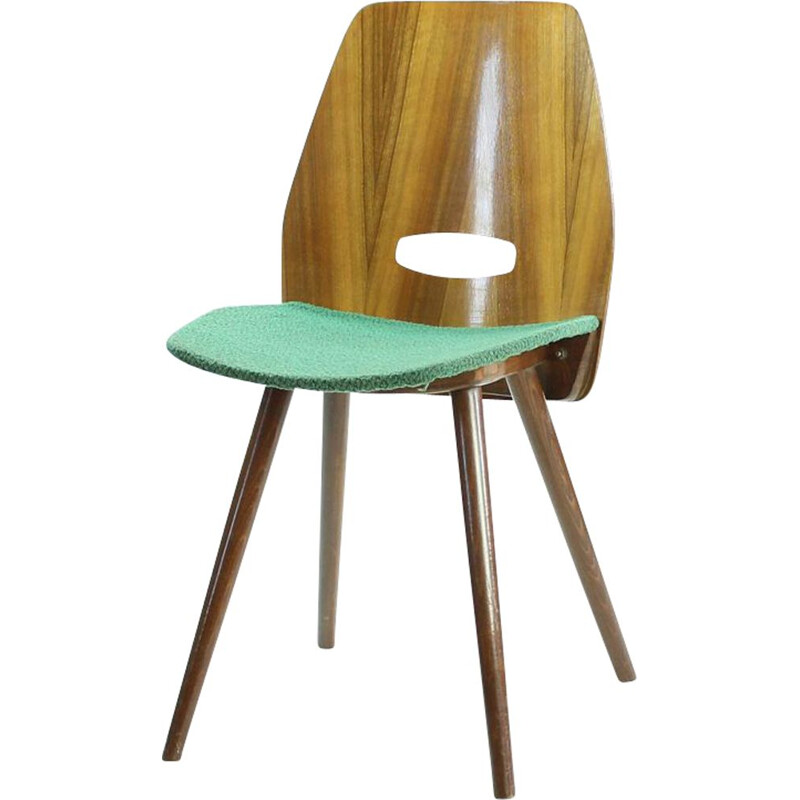 Vintage Lollipop chair for Tatra in green fabric and oak 1960s