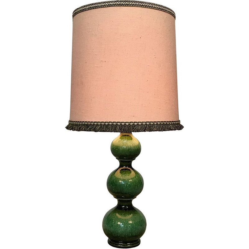 Vintage german table lamp for Kaiser Leuchten in green ceramics and fabric 1960s