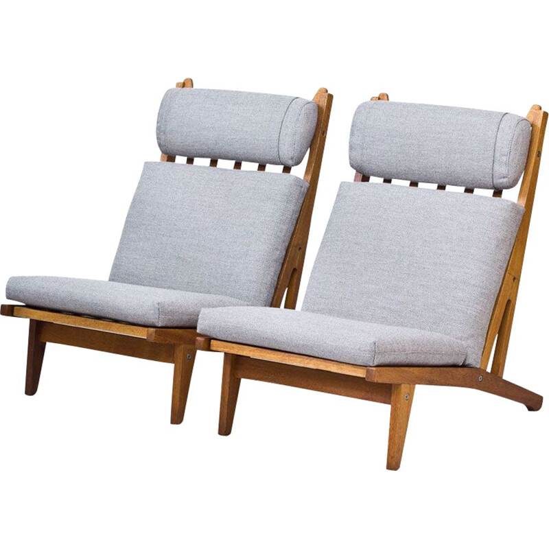 Pair of vintage GE-375 armchairs for Getama in grey wool and oakwood 1960s