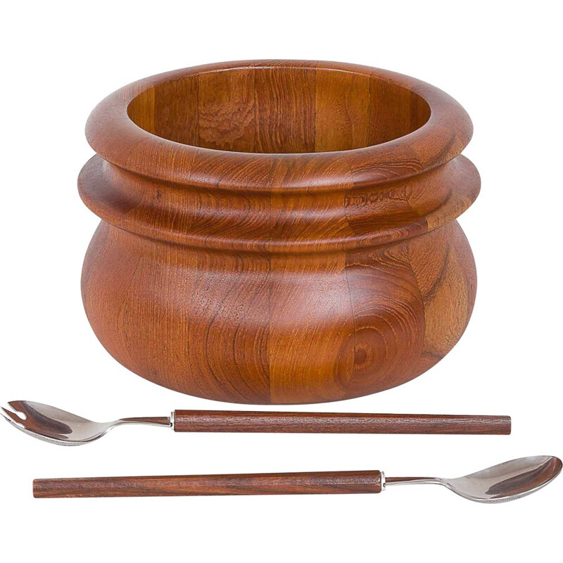 Vintage Birgit Krogh teak salad bowl by Woodline serving utensils