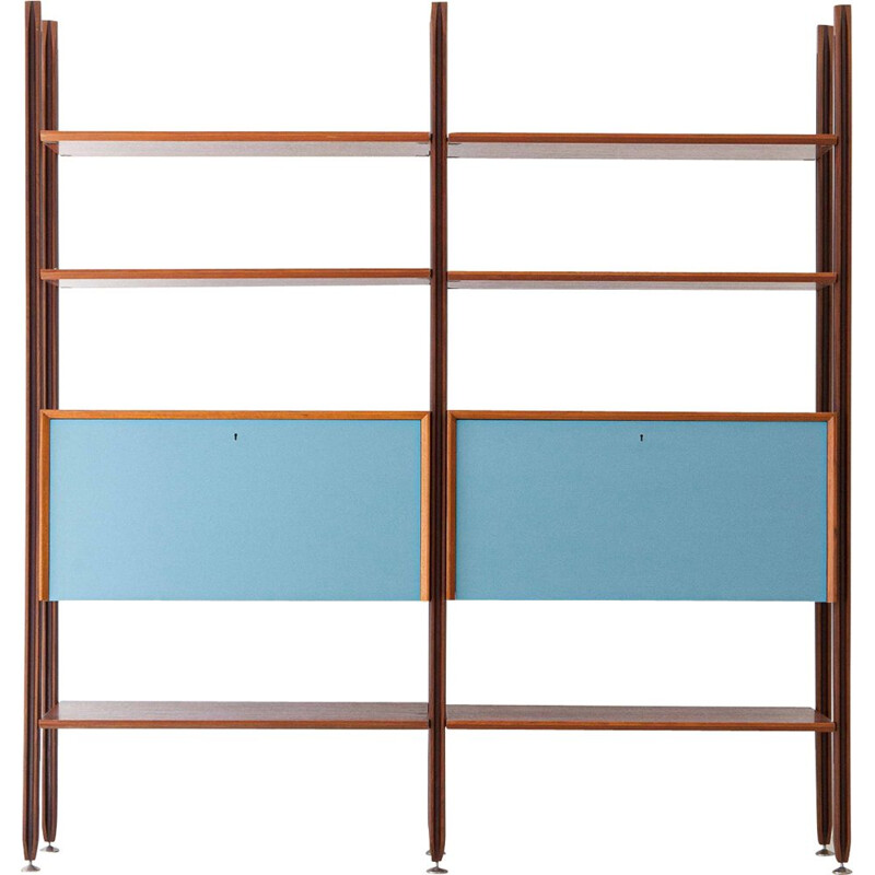 Vintage teak modular bookshelf with Light Blue Doors