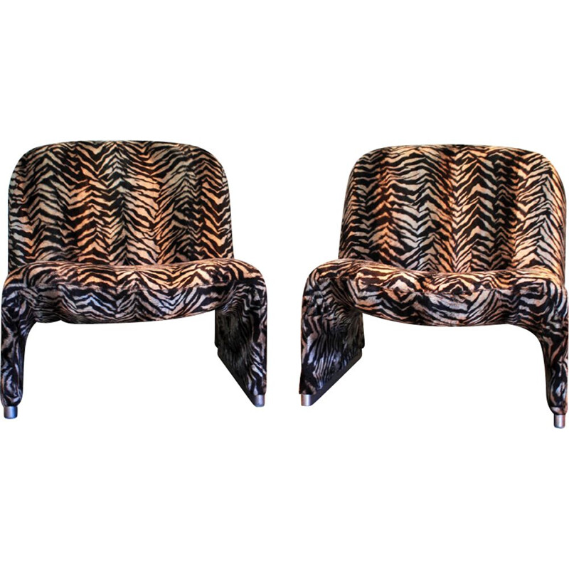 Pair of vintage low chair Alky by G.Piretti,1969