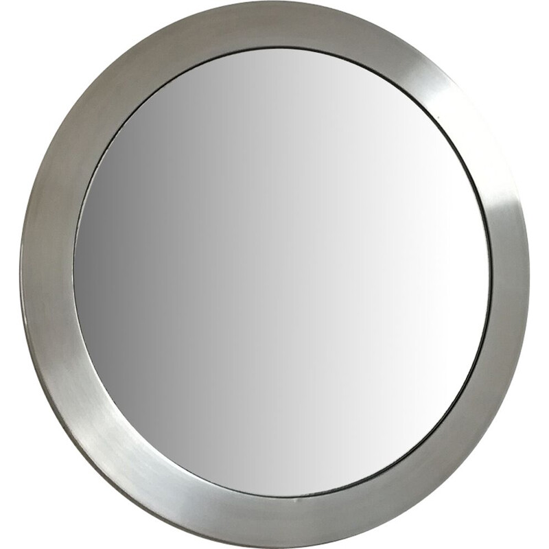 Vintage round mirror in brushed aluminum, 1970s