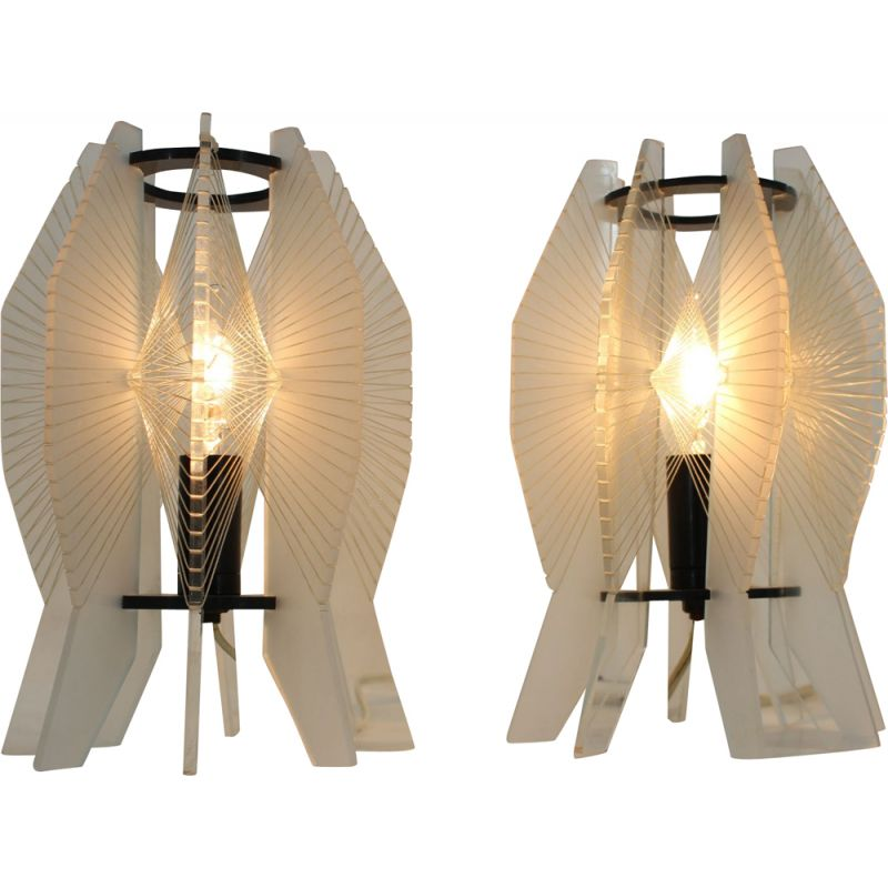Pair of vintage table lamps space age 1970s