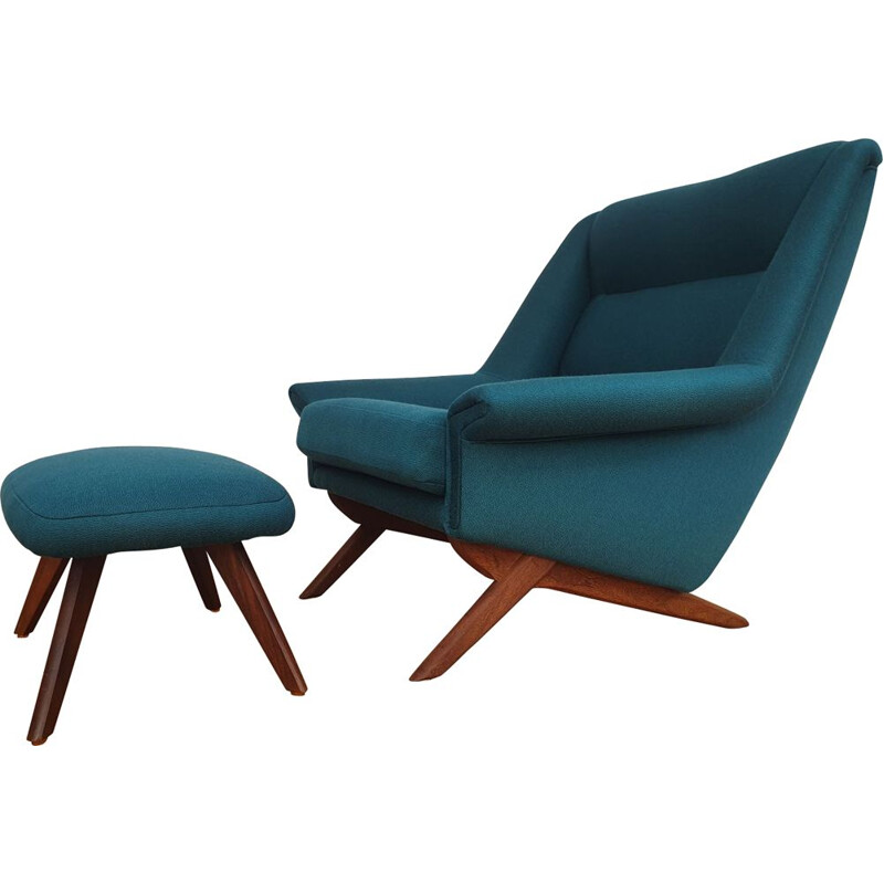 Vintage danish armchair and footstool for MN Horsens in green wool and teak 1970s