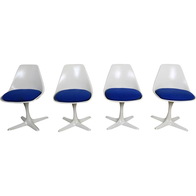 Set of 4 vintage swivel chairs model 115 by Maurice Burke for Arkana, UK, 1960s