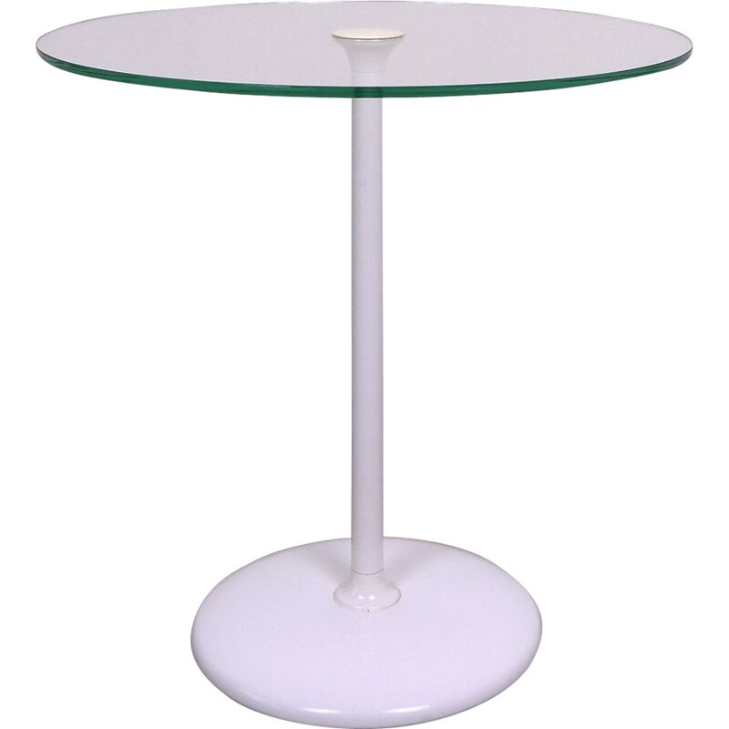 Vintage side table glass top and trumpet base Germany, 1970s