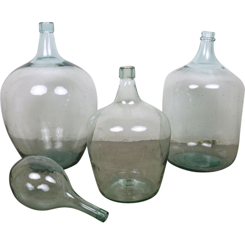 Set of 4 vintage ballon vases in glass antique French Dame Jeanne 1900s