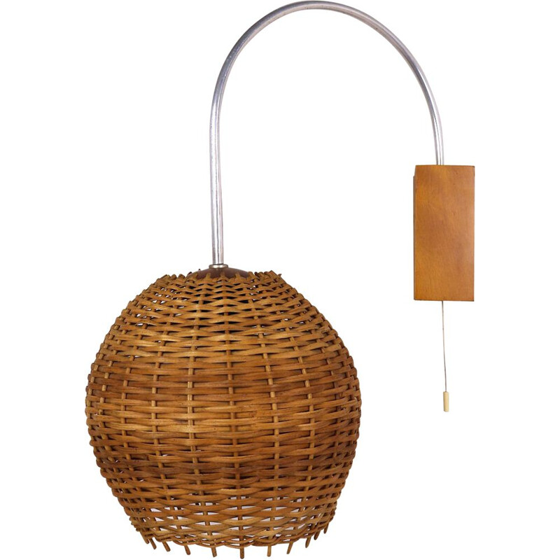 Vintage wall lamp in wicker, Germany, 1950s