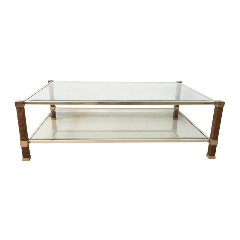 Vintage coffee table in brass, glass and maple, Pierre VANDEL - 1970s