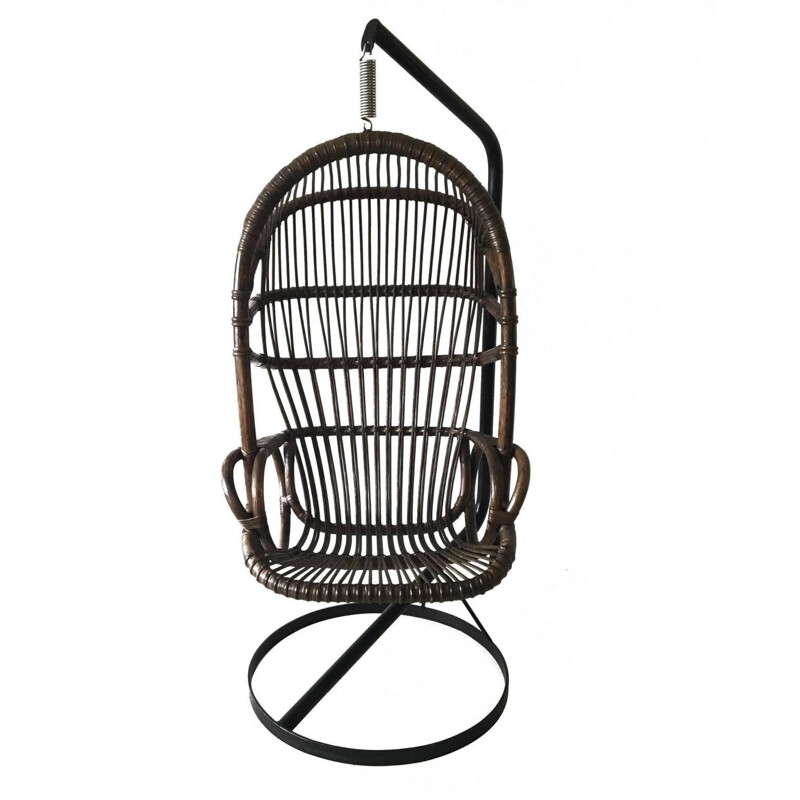 Rohé Noordwolde cane and bamboo hanging chair - 1960s