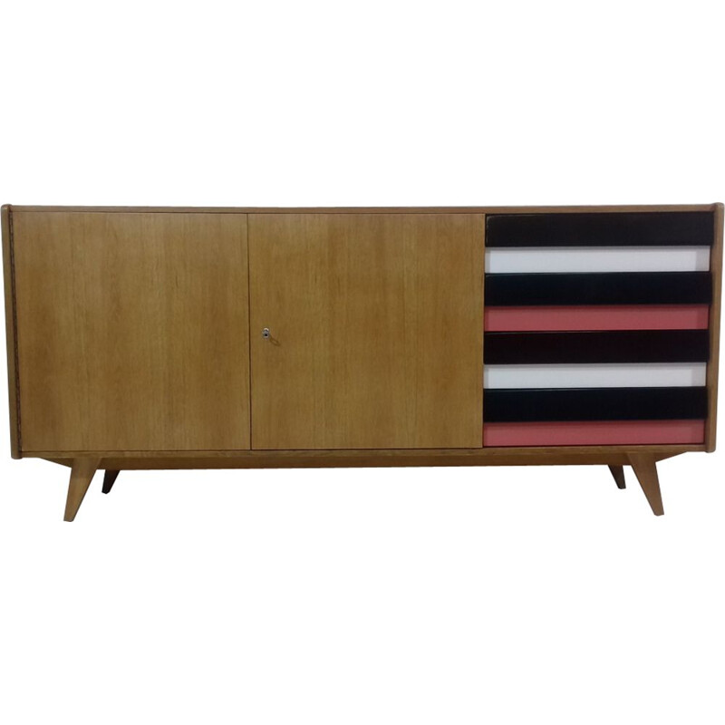 Vintage sideboard designed by Jiří Jiroutek in oak and plastic 1960s