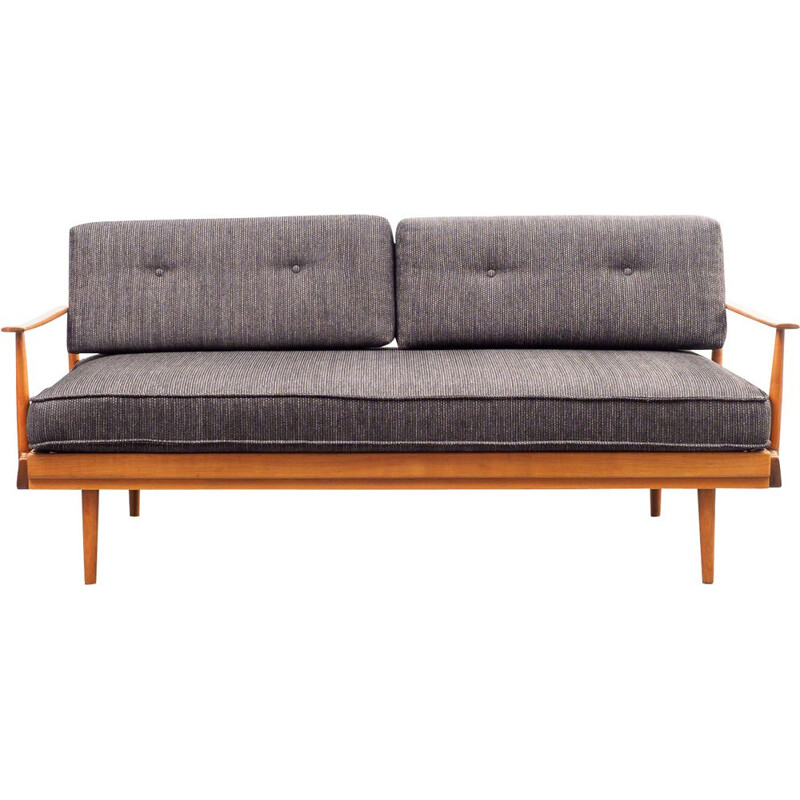 Vintage sofa for Knoll Antimott in cherrywood and grey fabric 1960s