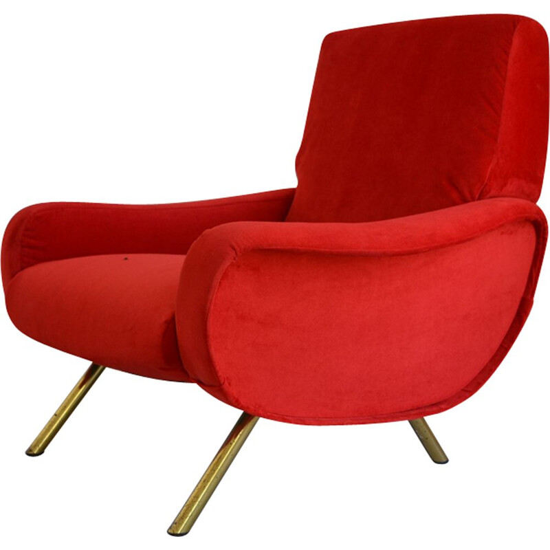 Lady Italian vintage armchair for Arflex in red velvet 1950