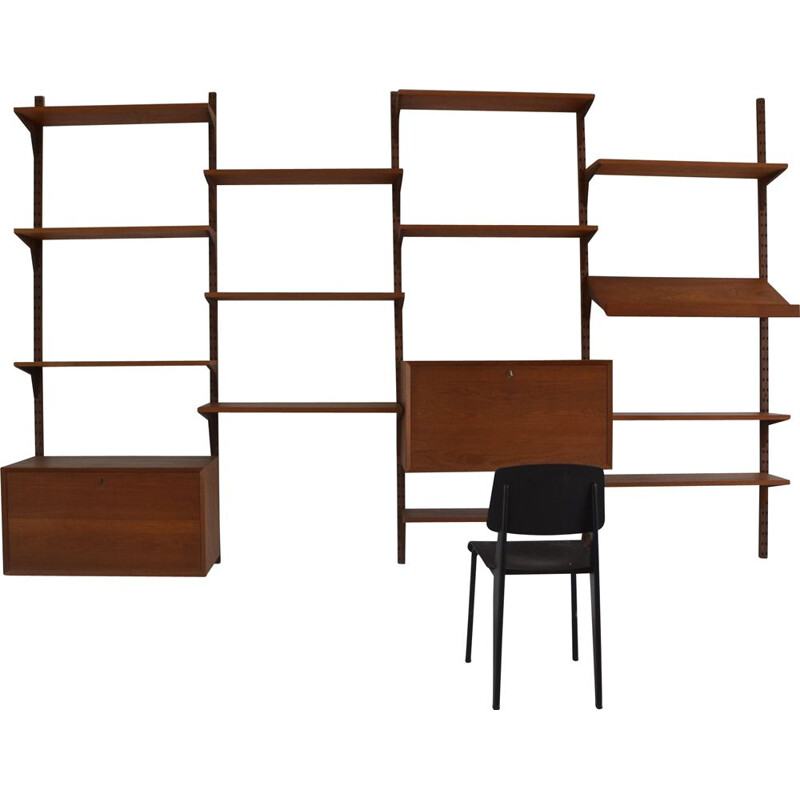 Vintage wall unit desk by Poul Cadovius for Royal System 1960s