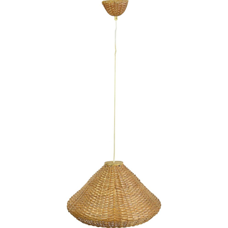 Vintage hanging lamp with a wicker lampshade, Denmark 60s