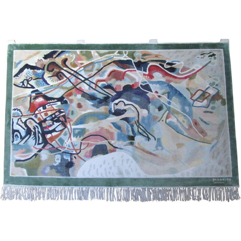 Vintage Kandinsky abstract pattern edgy wall rug