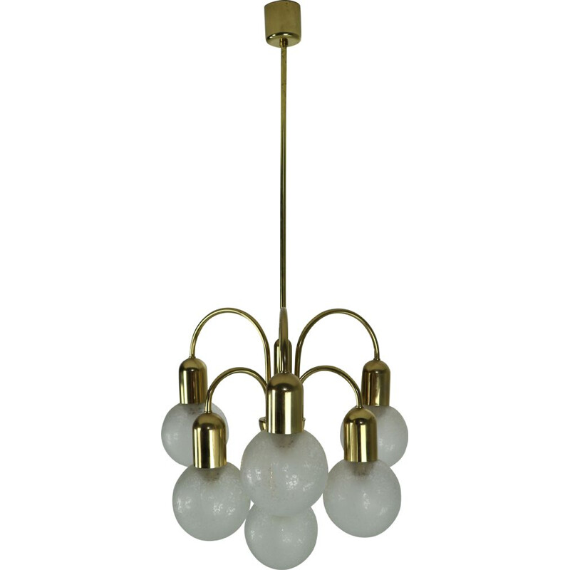 Vintage Doria Crackle glass globes brass chandelier