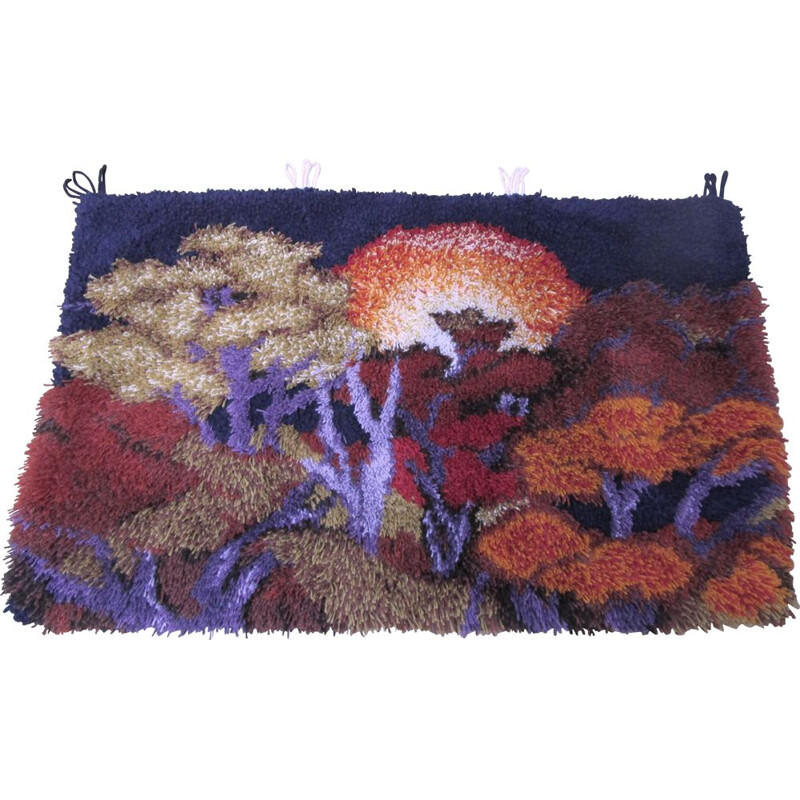Vintage wool wall rug with forest decoration