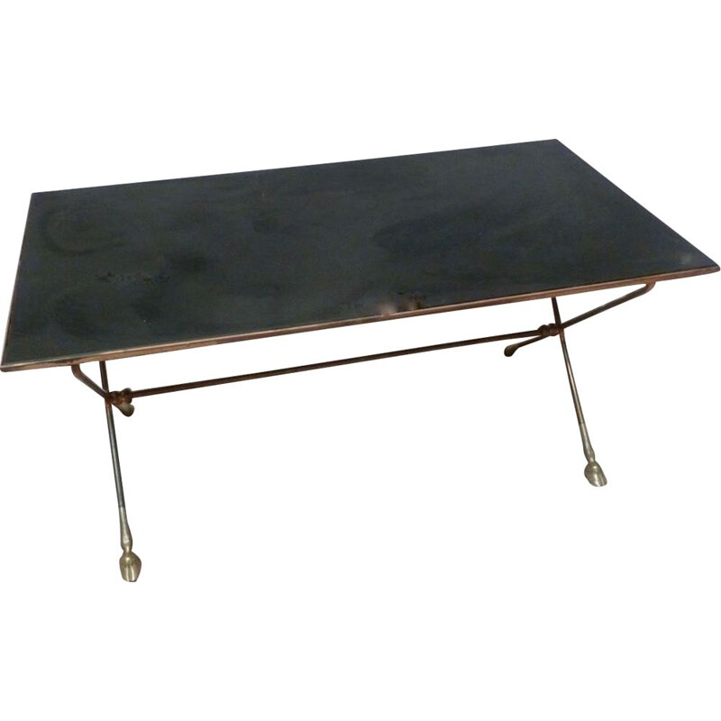 Vintage coffee table with black opaline top