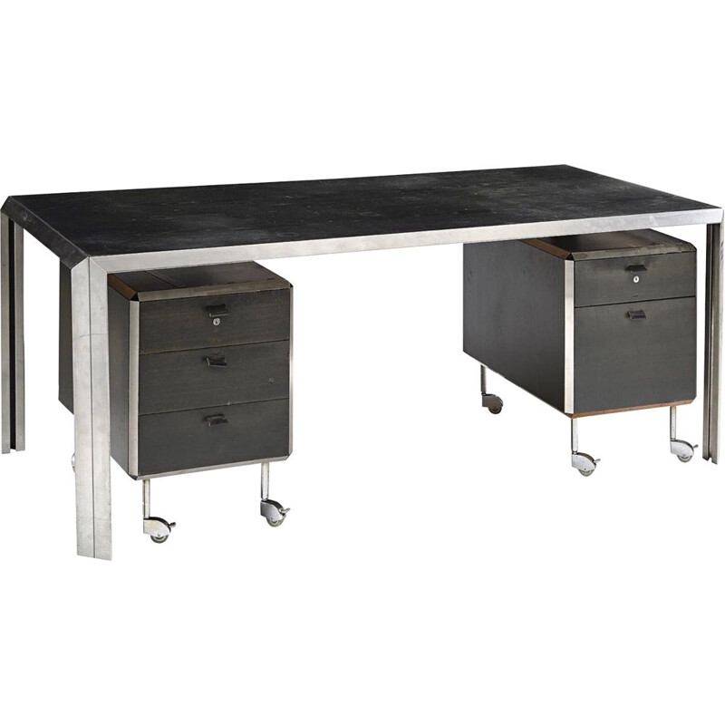 Vintage black desk by Bernard Marange for TFM