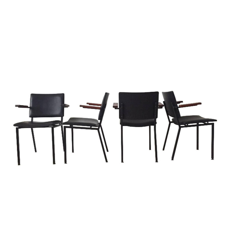 Kembo set of chairs in metal and leatherette, Gerrit VEENENDAAL - 1960s