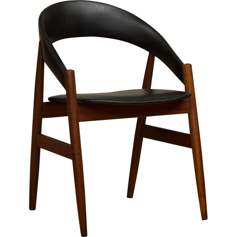 Vintage Danish chair in teak and black leatherette