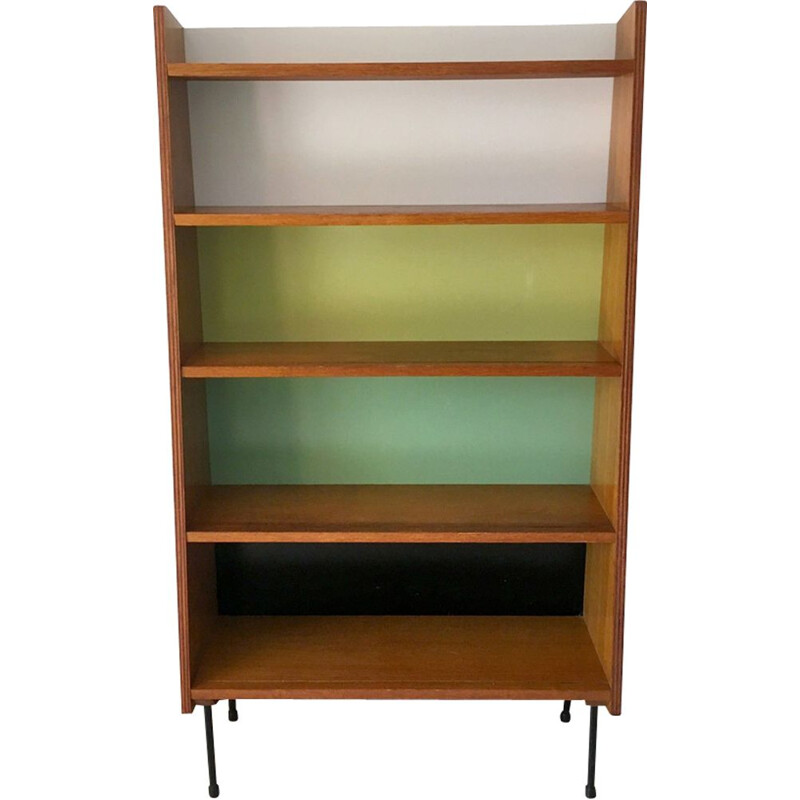 Vintage Bookcase with multicolored background, 1950